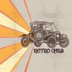 Grunge vintage background with car in retro style