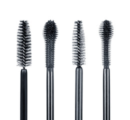 Set of mascara brushes isolated on white