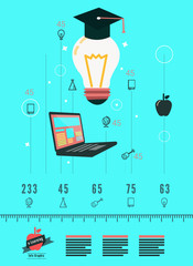 Online learning and education infographic. flat design