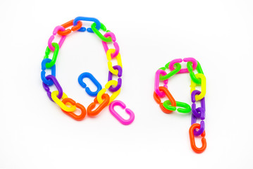 Q and q Alphabet, Created by Colorful Plastic Chain