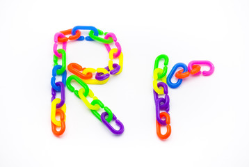 R and r Alphabet, Created by Colorful Plastic Chain
