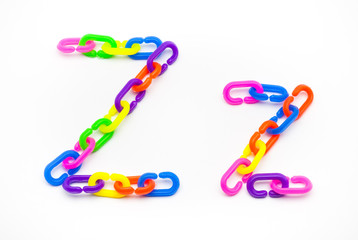 Z and z Alphabet, Created by Colorful Plastic Chain