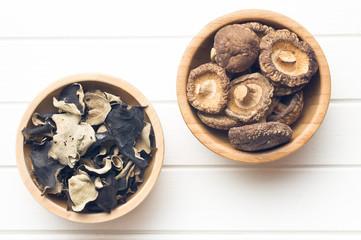 jelly ear and shiitake mushrooms