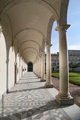 Columns and shadows at the Certosa di San Martino Naples, Italy