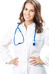 Happy smiling female doctor, over white