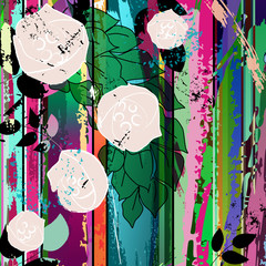 abstract composition with roses, vector illustration