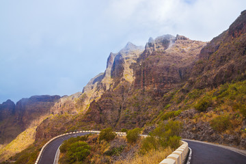 Famous canyon Masca in fog at Tenerife island - Canary