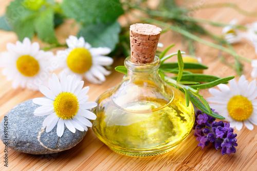 Leinwanddruck Bild Alternative Medizin mit Kamille, Lavendel, Rosmarin