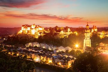 Panorama of Burghausen at Sunset, Bavaria, Germany