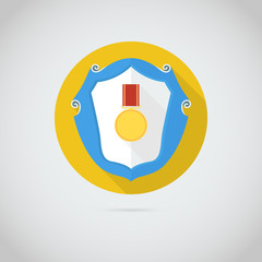Flat vector icon with gold medal