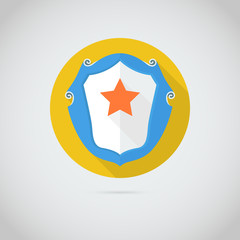 Flat vector icon with red star