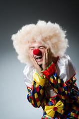 Funny clown in the studio