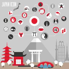 Japan icons set. Vector illustration.