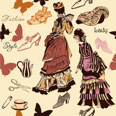 Stylish seamless wallpaper pattern with old- fashioned woman