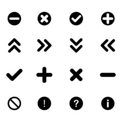 Set of black flat icons - arrows and various signs