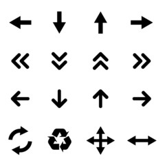Set of flat icons - black arrows