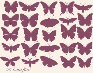 Vector set of butterflies silhouettes