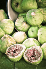 cross processing of a vertical composition of green figs