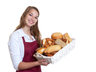 Blonde Bäckereiverkäuferin mit Brotkorb