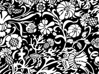 Seamless floral pattern in black and white