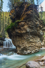 Johnston Canyon Rock and Waterfall