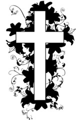 christian cross and plant  21