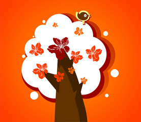 Abstract blooming tree with funny bird