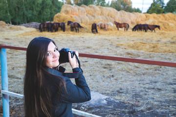 Girl photographs of horses