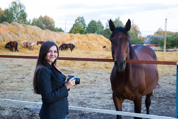 Girl photographs of horses