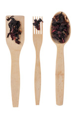 Wooden spoon, fork, paddle with hibiscus
