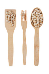 Wooden spoon, fork, paddle with pumpkin  seed