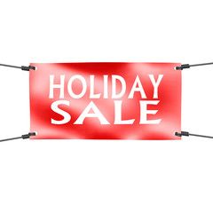 Banner holiday sale with four ropes on the corner