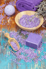 Lavender spa.Spa salt, lavender, foaming bath bomb and  soaps
