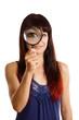 canvas print picture - Frau mit Lupe vergrößert ihr Auge