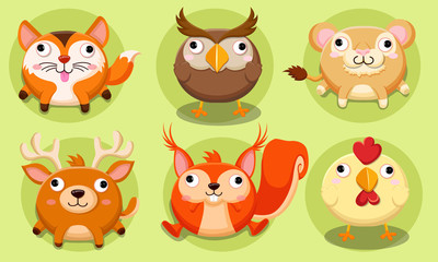 Cute animals vector illustration Icon set