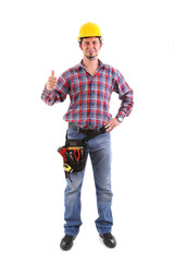 Male Carpenter Gesturing Thumbs Up