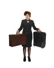 Young woman with two suitcases