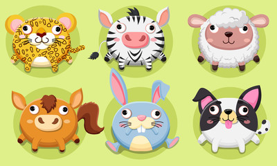 Vector set Wildlife animals cute