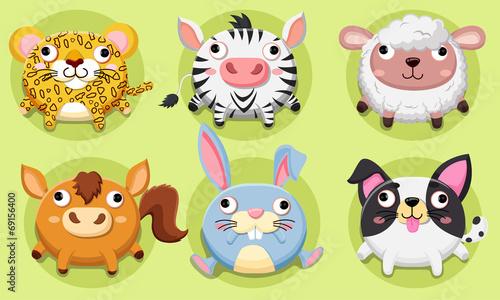Foto op Canvas Boerderij Vector set Wildlife animals cute