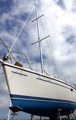 Sailboat on a Scaffold for Repair