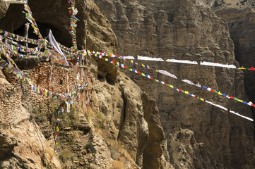 Chungsi monastery and prayer flags in Mustang