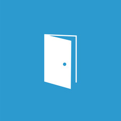 open door icon, white on the blue background .