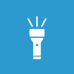 flashlight icon, white on the blue background .
