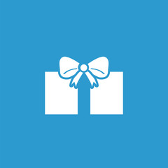 gift icon, white on the blue background .