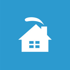 cozy home icon, white on the blue background .