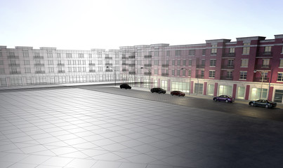 città quartieri downtown periferia rendering 3d