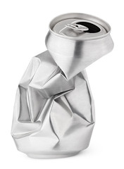 Crumpled empty soda or beer can isolated on white