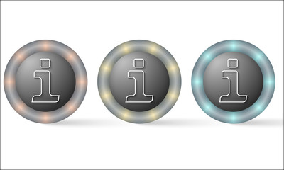 set of three icons with info symbol
