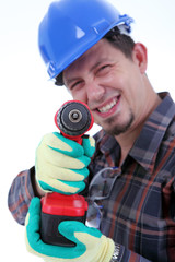 Repairman with drill, white background