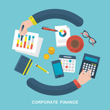 Flat vector illustration of corporate finance concept